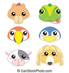 zes, schattig, spotprent, dierenkop, iconen