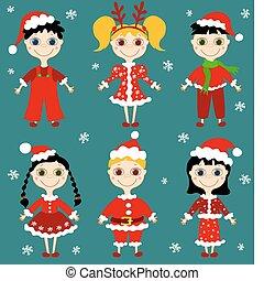 zes, set, kinderen, kerstmis