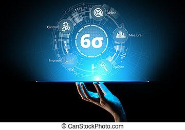 zes, sigma, dmaic, industriebedrijven, innovatie, technologie, kwaliteit controle, zakelijk, concept.