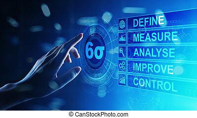 zes, sigma, mager, productiewerk, kwaliteit controle, en, industrieel proces, verbeteren, concept.