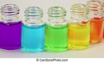 zes, transparant, open, flessen, bewegingen, sideward, met,...