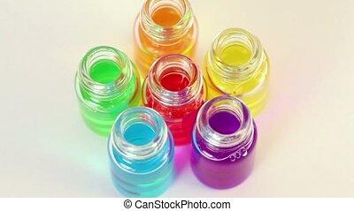 zes, transparant, open, flessen, radvormigen, met, kleur,...