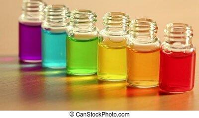 zes, transparant, open, flessen, stander, in, roeien, op,...