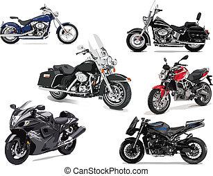 zes, vector, illustraties, van, motorfiets