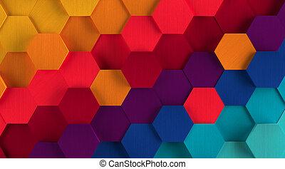zeshoek, achtergrond, veelkleurig