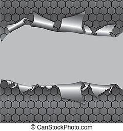 zeshoek, metalen, achtergrond, onder, gat