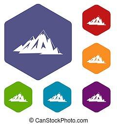 zeshoek, set, canadees, iconen, bergen