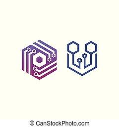 zeshoek, -, vector, logo, concept, illustration., zeshoek,...