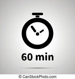 zestig, notulen, tijdopnemer, eenvoudig, black , pictogram