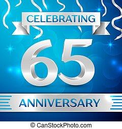 zestig, vijf, jaren, verjaardag viering, design., confetti, en, zilver, lint, op, blauwe , achtergrond., kleurrijke, vector, mal, communie, voor, jouw, jarig, partij., jubileum, lint