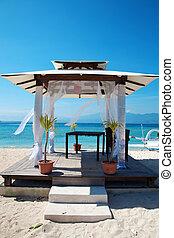 zet op het strand huwelijken, paviljoen, in, gili eilanden