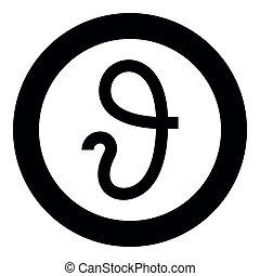 zeta, estilo, negro, plano, color, círculo, vector, símbolo...