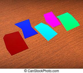 zettel, wort, copyspace, weisen, papier, fünf, brief, leer, 5