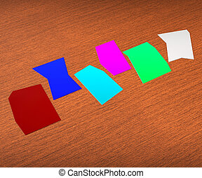 zettel, wort, copyspace, weisen, sechs, leer, papier, brief, 6