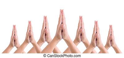 zetten, handen samen, in, groet