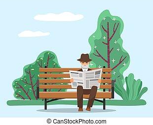 zetten, krant, lezen, alleen, park, grootvader