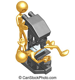 zetten, microscoop, onder