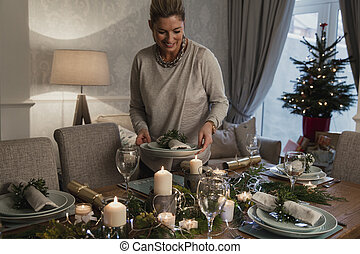 zetten van de tafel, voor, kerstdiner