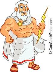 Zeus Cartoon - Vector Illustration of Zeus God Holding...