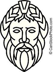 zeus-head-frnt-MLINE - Mono line illustration of Zeus, the...