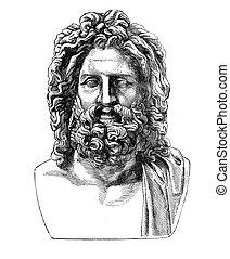 Zeus of Otricoli, XIX century engraving