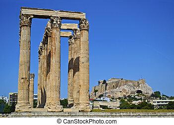 zeus, olympian, acropole, temple