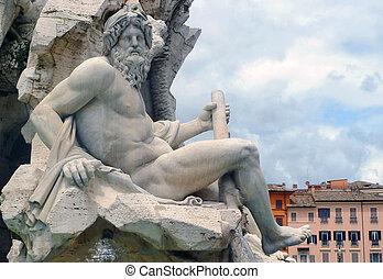 Zeus sculpture, by Bernini, Fontana dei Quattro Fiumi, Piazza Navona, Rome, Italy