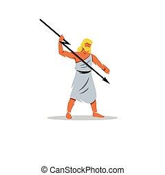Zeus sign. In Greek mythology, king of gods, people, sky, weather, fate, law. Vector Illustration.