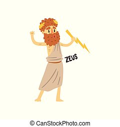 Zeus supreme Olympian Greek God, ancient Greece mythology character character vector Illustration on a white background