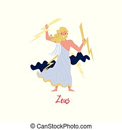 Zeus supreme Olympian Greek God, ancient Greece myths cartoon character vector Illustration on a white background