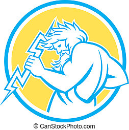 Illustration of Zeus, Greek god of the sky and ruler of the Olympian gods wielding holding a thunderbolt set inside circle on isolated white background.