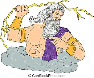 Zeus Wielding Thunderbolt Lightning Drawing - Drawing sketch...