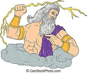 Zeus Wielding Thunderbolt Lightning Drawing