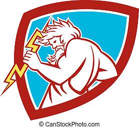 Zeus Wielding Thunderbolt Shield Retro - Illustration of...