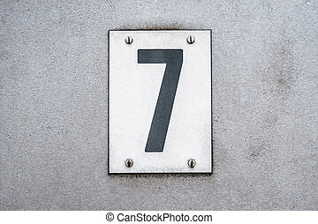 zeven, 7, woning, metaal, getal, /, achtergrond