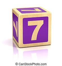 zeven, blokjes, houten, nummer 7, lettertype