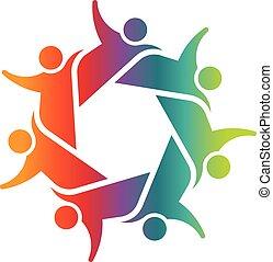 zeven, concept, mensen, anderen, teamwork, vasthouden, elke, circle.