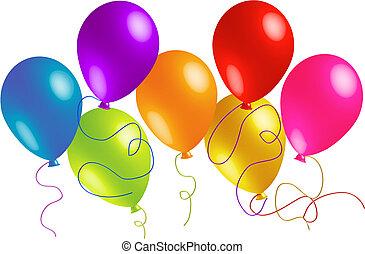 zeven, mooi, feestje, ballons
