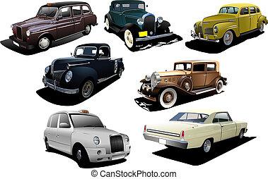 zeven, oud, zeldzaamheid, cars., vector, illustratie