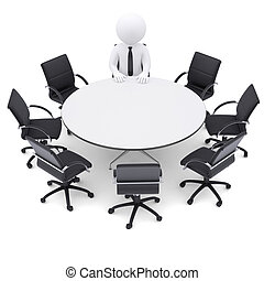 zeven, stoelen, man, tafel., ronde, lege, 3d