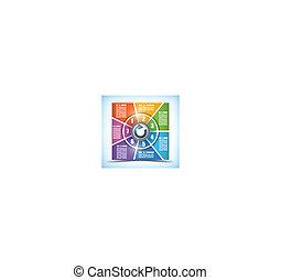 zeven, workflow, kleurengrafiek, het veranderen, toneel