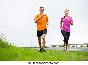 zewnątrz, para, jogging, wyścigi, stosowność, sport