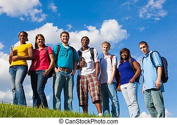 zewnątrz, rozmaity, grupa, students/friends