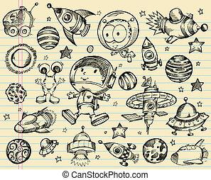 zewnętrzna przestrzeń, doodle, rys, komplet