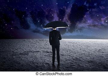 zewnętrzny, człowiek, parasol, dzierżawa, przestrzeń