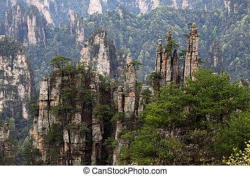 Zhangjiajie City, April 13: Tian Zi Mountain natural scenery on April 13, 2012, Zhangjiajie City, Hunan, China