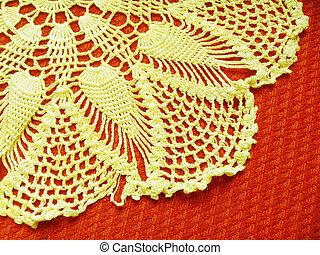 ZHeltaya napkin on red background