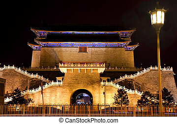 zhengyang, puerta, con, farola, cuadrado de tiananmen, beijing, china, noche, tiro