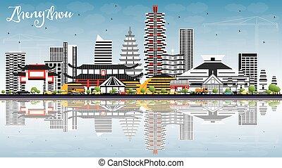 Zhengzhou Skyline with Gray Buildings, Blue Sky and Reflections.