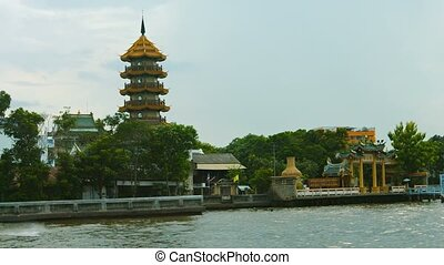 """Zhi Zhen Ge temple, fronting on the Chao Phraya River in..."